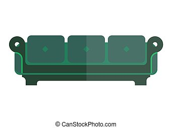 Green isolated sofa with bright and dim parts - green...