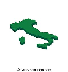 Green Italy map icon, isometric 3d style