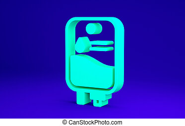 Green IV bag icon isolated on blue background. Blood bag. Donate blood concept. The concept of treatment and therapy, chemotherapy. Minimalism concept. 3d illustration 3D render