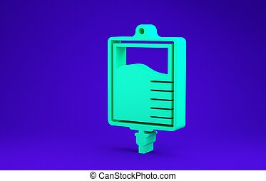 Green IV bag icon isolated on blue background. Blood bag icon. Donate blood concept. The concept of treatment and therapy, chemotherapy. Minimalism concept. 3d illustration 3D render