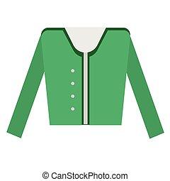 Green jacket flat illustration on white