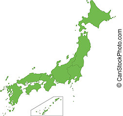 Green Japan map - Japan map with province borders