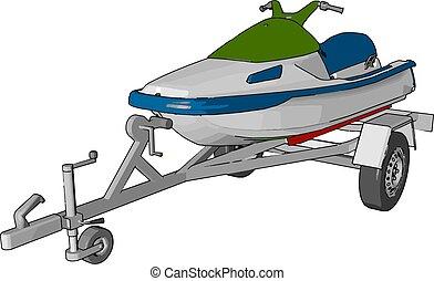 Green jetski, illustration, vector on white background.