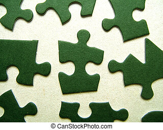 Green jigsaw pieces - Green jigsaw puzzle pieces