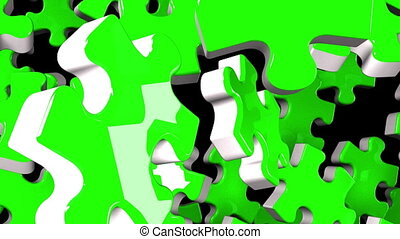 Green jigsaw puzzle on black background. 3DCG render...