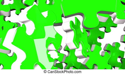 Green jigsaw puzzle on white background. 3DCG render...