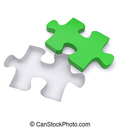 Green jigsaw puzzle. 3d rendered image