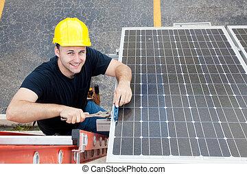 Green Jobs - Renewable Resources - Electrician installing ...
