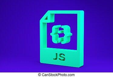 Green JS file document. Download js button icon isolated on blue background. JS file symbol. Minimalism concept. 3d illustration 3D render
