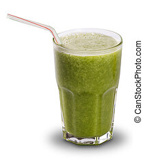 Green juice in a glass with straws isolated on a white background