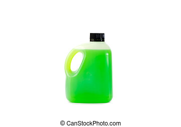 Green juice in plastic bottle on white background, Used for...