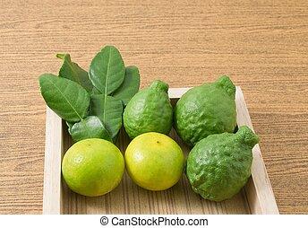 Green Kaffir Lime with Lemon Lime on Tray