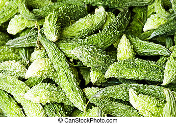 karela - green karela heap close up