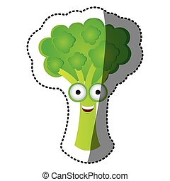 green kawaii happy broccoli icon