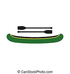 Green kayak with oars icon, flat style - Green kayak with...