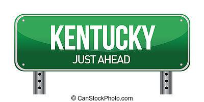 green Kentucky, USA street sign illustration design over white