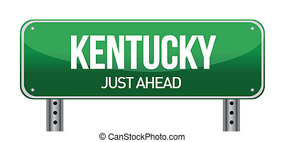 green Kentucky, USA street sign illustration design over...