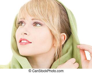 green kerchief - picture of teenage girl in green kerchief