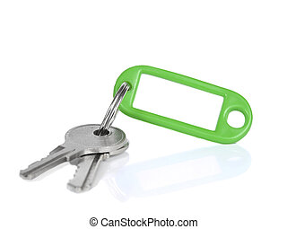 Green keyring - Two keys on a blank keyring with space for...