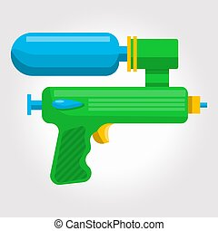 Green kids toy ,cosmic water gun on a white background.