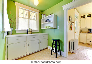 Green kitchen and garden room interior with buffer. -...