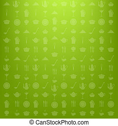 Green Kitchen Background, Vector Illustration