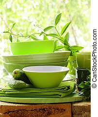 green kitchen utensils