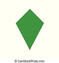 green kite basic simple shapes isolated on white background, geometric kite icon, 2d shape symbol kite, clip art geometric kite shape for kids learning