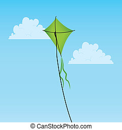 kite - green kite on abstract sky background