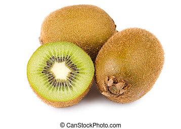 Green Kiwi fruit and slice