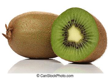 Green kiwi isolated on white
