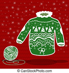Green knitted christmas sweater and a ball of yarn on red...