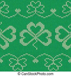 Green knitted clovers seamless pattern