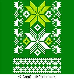 Green knitted Scandinavian scarf - Scandinavian ornament for...