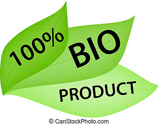 Green Label with Tag 100% Bio Product - Green label in shape...