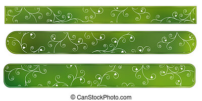 Green labels with flowers