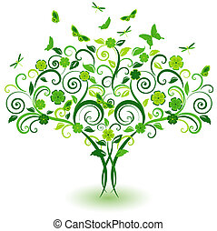 Green lace tree with butterflies