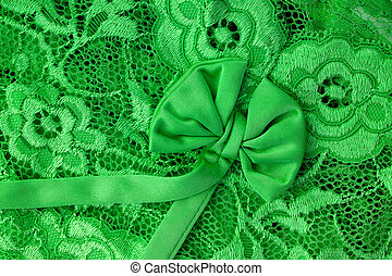 Green lace with bow