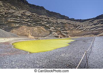Green lake in El Golfo, Lanzarote
