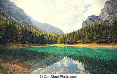 green lake in styria tragoess. emerald color. cross ...