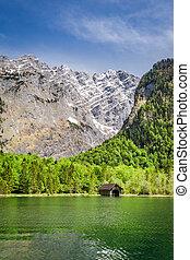 Green lake Konigssee in the German Alps