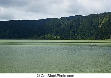 Green lake of furnas Sao Miguel, The Azores Islands,...