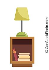 Green lamp stands on wooden bedside table full of books