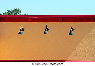 Green Lamps Yellow Wall