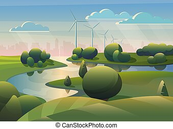 Green lands field landscape with river, wind turbines windmills and modern city under blue sky. Ecology alternative wind energy.