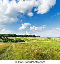 green landscape and clouds in blue sky