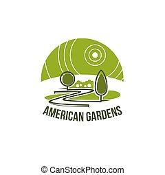 Green landscape association vector eco icon
