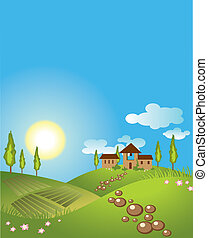 Green landscape background. vector