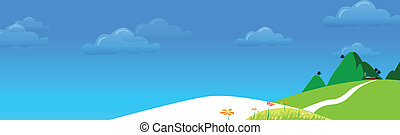 Green landscape - This illustration is a common natural...