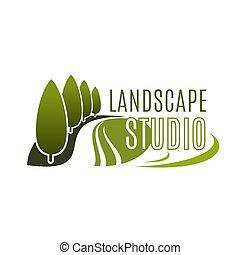 Green landscape design studio vector icon